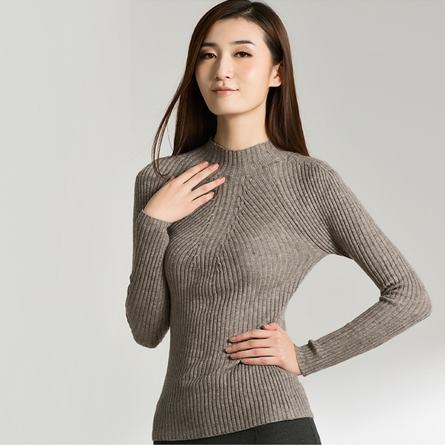 High Quality 2015 New Women Cotton Sweater Women fashion Autumn and Winter Warm  Turtleneck Sweater Women 51657f23c0e0