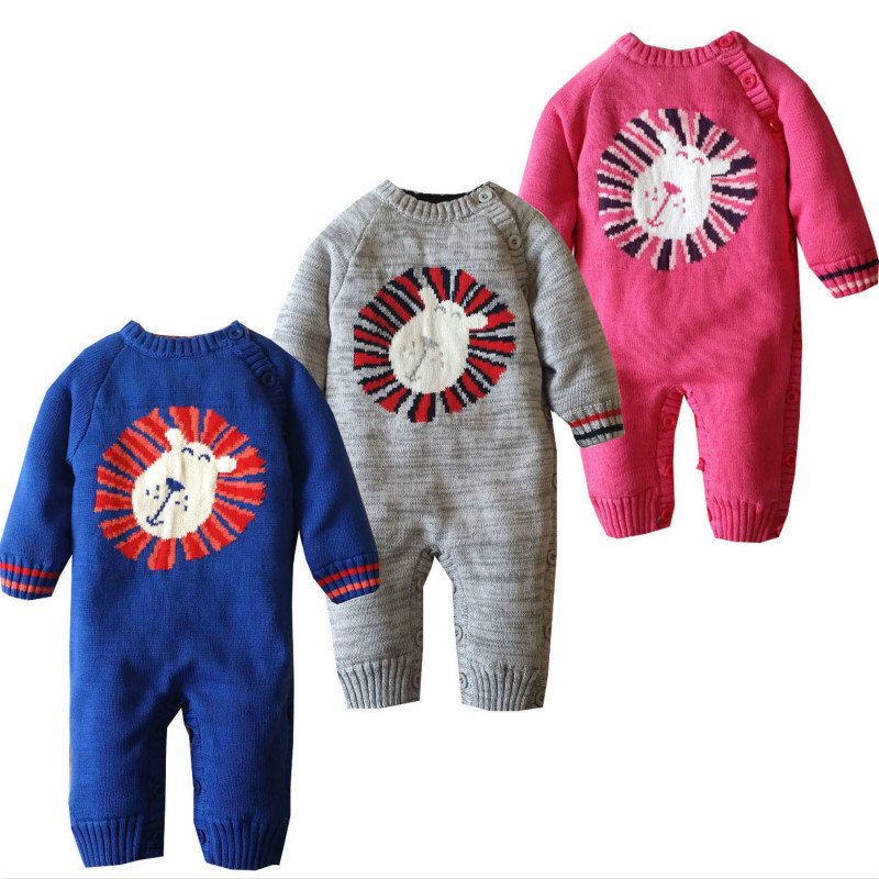 2017 Baby Boys Romper Winter Christmas Cartoon Thick Warm Baby Knitting Velvet Rompers Newborn Infant Toddler Jumpsuit Coveralls puseky 2017 infant romper baby boys girls jumpsuit newborn bebe clothing hooded toddler baby clothes cute panda romper costumes