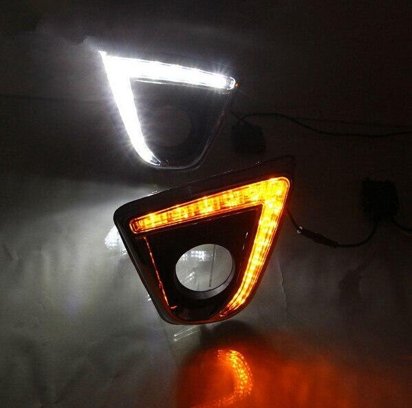 Бесплатная доставка, с автоматической желтой функцией поворота! Светодиодный светильник дневного света, СВЕТОДИОДНЫЙ DRL для Mazda CX 5 CX5 CX 5 2012