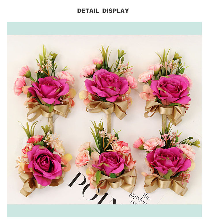 bridesmaid bracelet wedding corsage flowers roses artificial  (8)