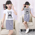 2016 New Sets Girls Dress Summer Simple Children Cat Two Piece Clothes Girl Dress 9 Years Baby