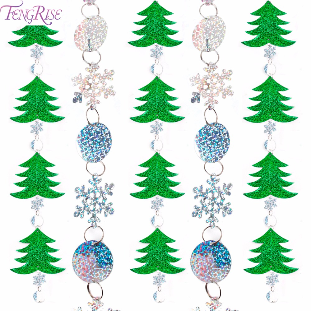 FENGRISE Snowflake PVC Laser Sequin Curtains Christmas Decorations For Home Glitter Sequin Snow Flake Christmas Tree Decorations