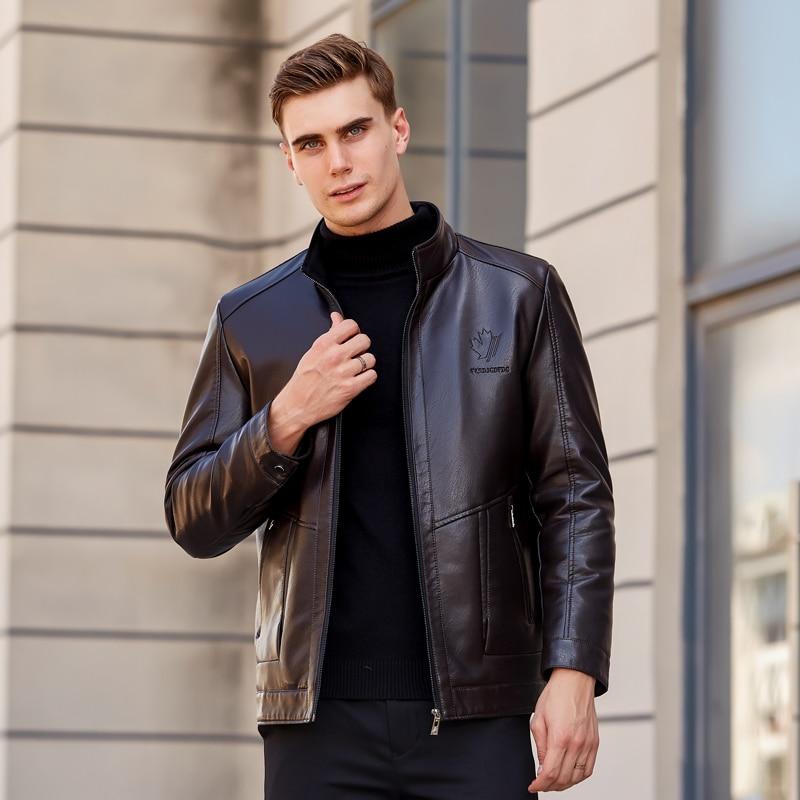 2019 Lelaki Lelaki Kulit Jacket Winter Fleece Lelaki Lembut PU Kulit - Pakaian lelaki - Foto 3