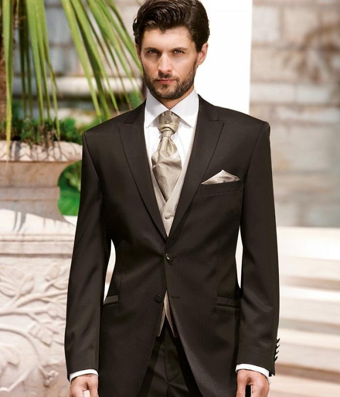 Latest Dark Chocolate Brown Mens Dinner Party Prom Suit Groom Tuxedos Groomsmen Wedding Blazer Suits 2017(Jacket+Pants+Vest+Tie)