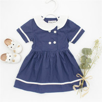 Beautiful Dresses For Girls Baby Summer Clothes Kids Sailor Style Dress Toddler Girls White Dress Children