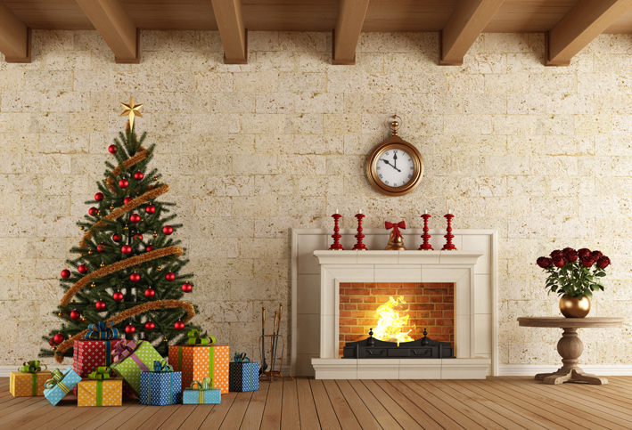 Christmas Fireplace Tree Clock photo backdrop  Vinyl cloth High quality Computer printed christmas photo studio background