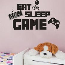 Eat Sleep Game Decal Gaming Vinyl Sticker Keyboard Joystick Gamepad Gamer Wall Art Design Teen Room