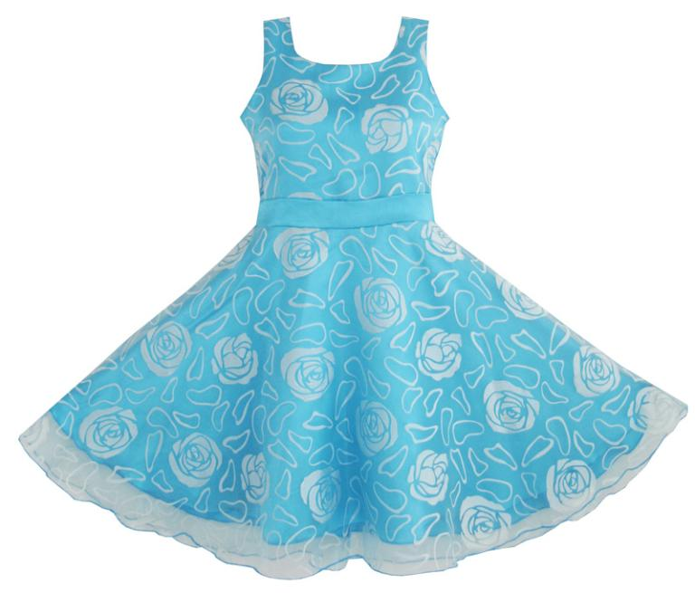 Flower Girl Dress Blue Rose Wedding Pageant Kids Boutique 2018 Summer Princess Party Dresses Children Clothes Size 4-12 Sundress flower girls dresses for wedding gowns white girl birthday party dress ankle lenght kids prom dresses long mother daughter dress