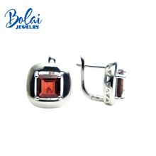 Bolaijewelry,925 silver fine jewlery with earrings natural garnet and citrine Square 7.0mm girl of choice Christmas box