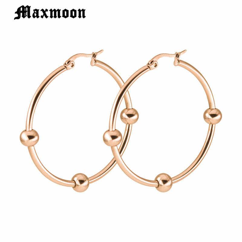 Maxmoon อุปกรณ์เสริมแฟชั่นวงกลมขนาดใหญ่ Hoop 2 ชิ้น/เซ็ต Vintage Gold silver สี Big Brincos ต่างหูสแตนเลสสตีลสำหรับสตรี