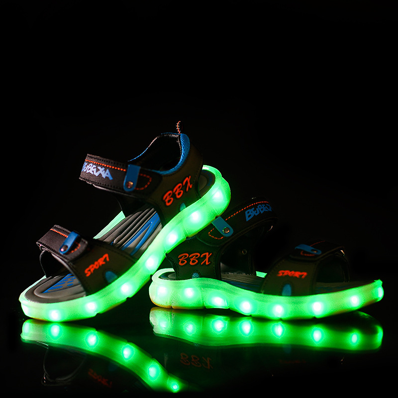 Children Luminous Letter Sandals New Kids USB Charger Emitting Shoes Boys Girls Summer Beach Led Lamp Sandals 0408H joyyou brand usb children boys girls glowing luminous sneakers teenage baby kids shoes with light up led wing school footwear