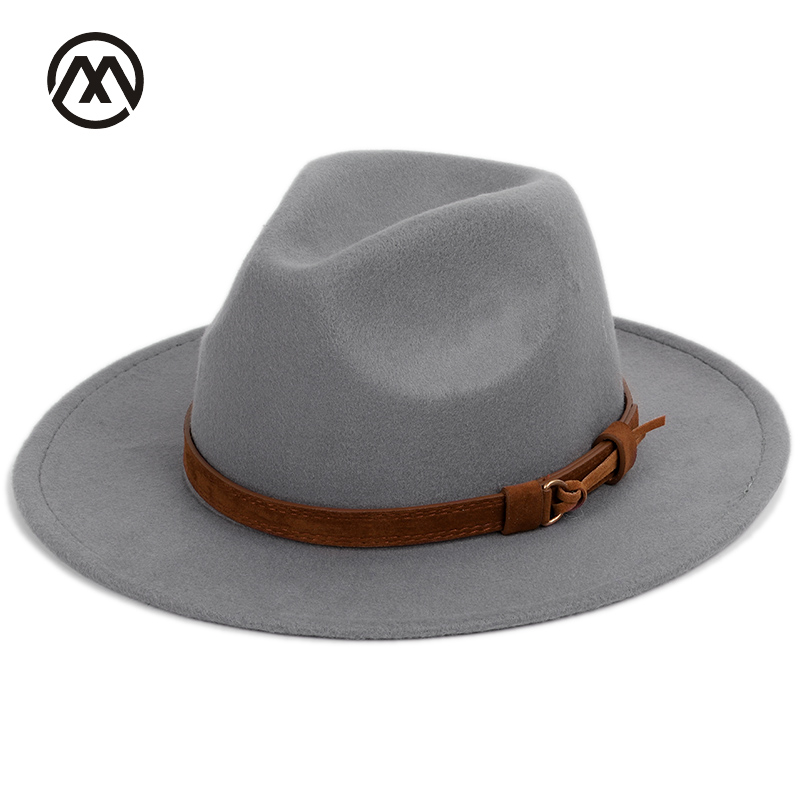 Men's fedora wool warm and comfortable adjustable large size 60CM hats unisex fashion trend solid caps classic bowler hat man(China)
