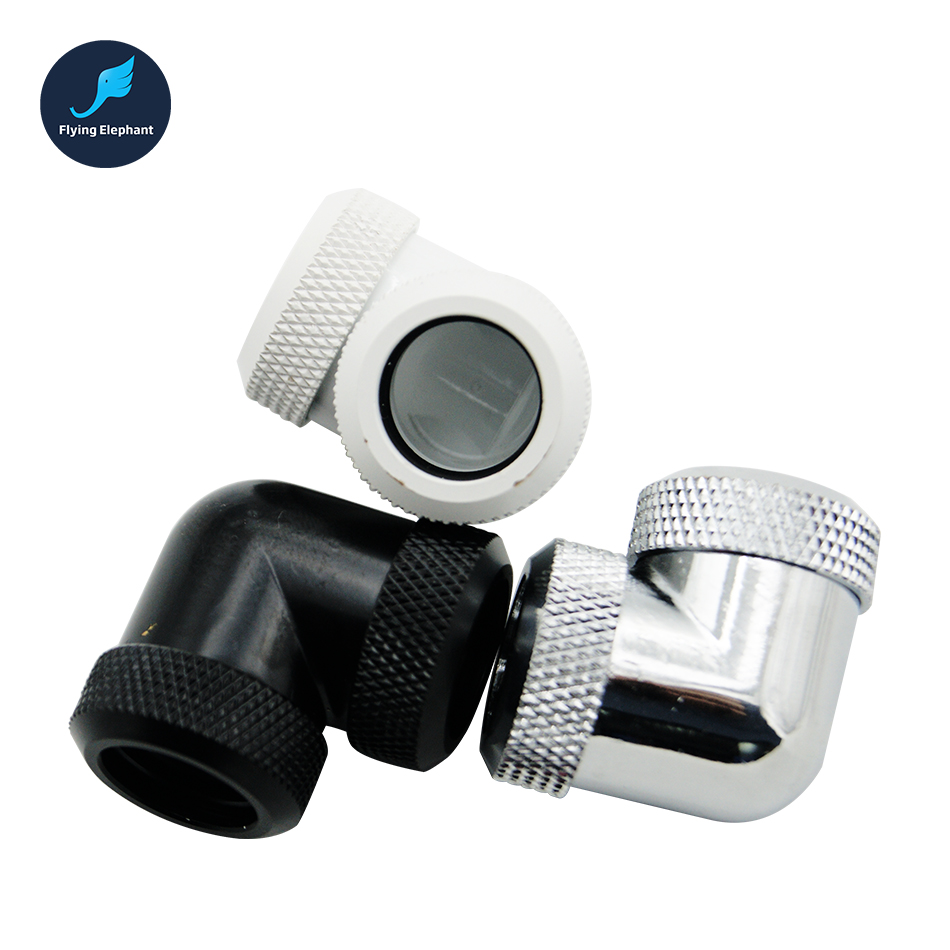 90 Degree Adapter Fitting For OD 14mm Acrylic Hard Tube Connector Female G1/4''X2 Removable Rigid Pipe Hand Compression Fitting