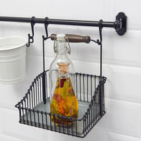 Black Hanging Rail Spice Jar Rack Kitchen Room Storage Holder Shelf/Basket 20cm For Spices Herbs Or Oil Vinegar