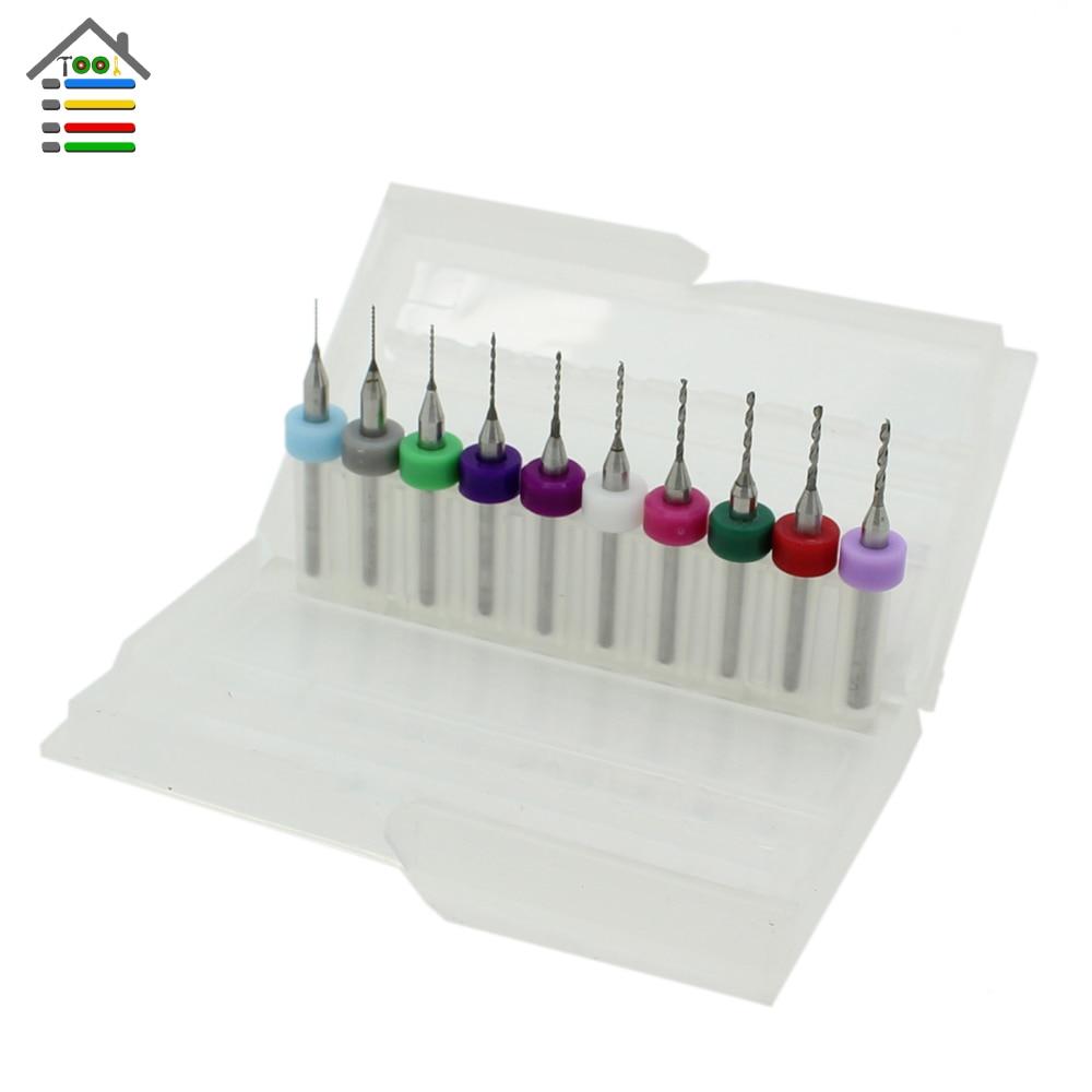 tool10pcs micro carbide pcb drill bits set 0 3mm 1 2mm for cnc cutter acrylic plastic pcb board mini drills