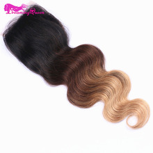 Dreaming Queen Hair 1B/4/27 Color Body Wave 4×4 Lace Closure Brazilian Ombre 100% Human Hair With Baby Hair