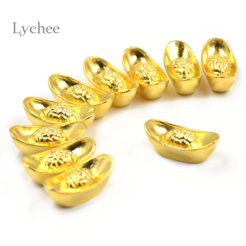 lychee 10 pieces mascot metal crafts feng shui auspicious lucky money gold ingot decoration. Black Bedroom Furniture Sets. Home Design Ideas