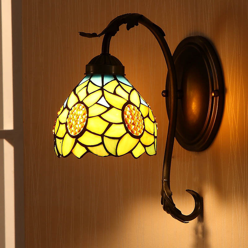 Tiffany fashion European style wall lamp sunflower Bohemia pastoral rustic Wall Sconce bed-lighting Lampara De Pared Fixtures in tiffany style led wall lamp lights for home indoor lighting angel fish design wall sconce lampara de pared e26 e27