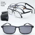 wholesale 9915 TR90 metal rectangle optical glasses frame with megnatic clip on removable polarized sunglasses lens