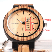 BOBO BIRD Antique Mens Wood Watches with Date and Week Display Luxury Brand Watch in Wooden Gift Box relogio masculino