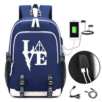 Harry Potter LOGO Backpack with USB Charging Port and Lock &Headphone interface for College Student Work Men & Women