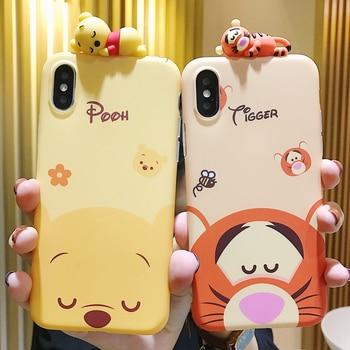 Cartoon doll Winnie Pooh Tigger Phone Case For iPhone X XS MAX XR All-inclusive anti-fall soft Cover For iPhone 7 8 6s Plus Case winnie the pooh iphone case