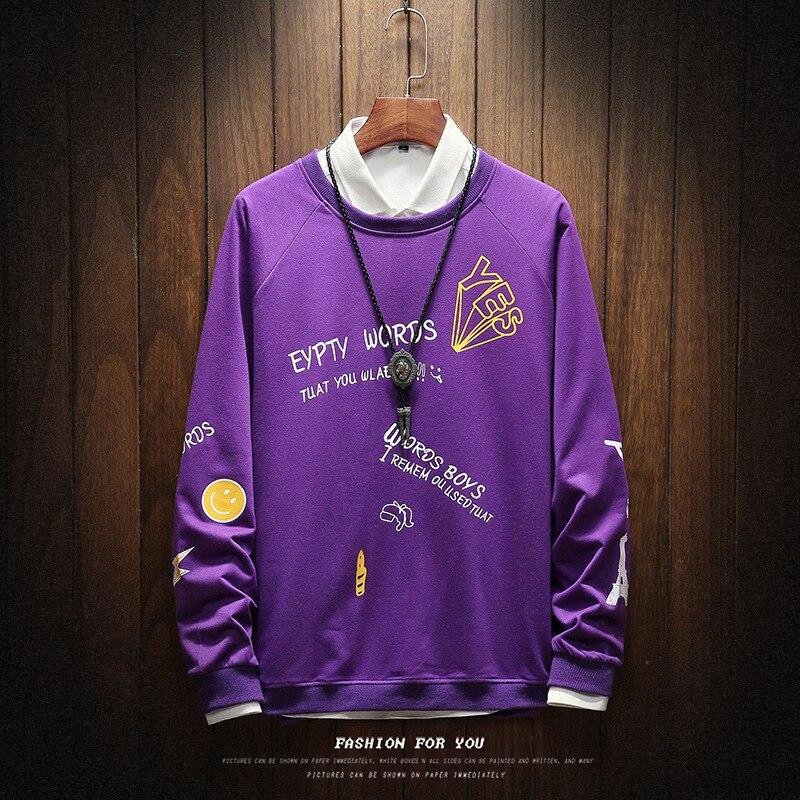 New Autumn harajuku sweatshirts Men letter print hoodies High quality cotton blend tracksuit Long sleeve hoodie streetwear tops