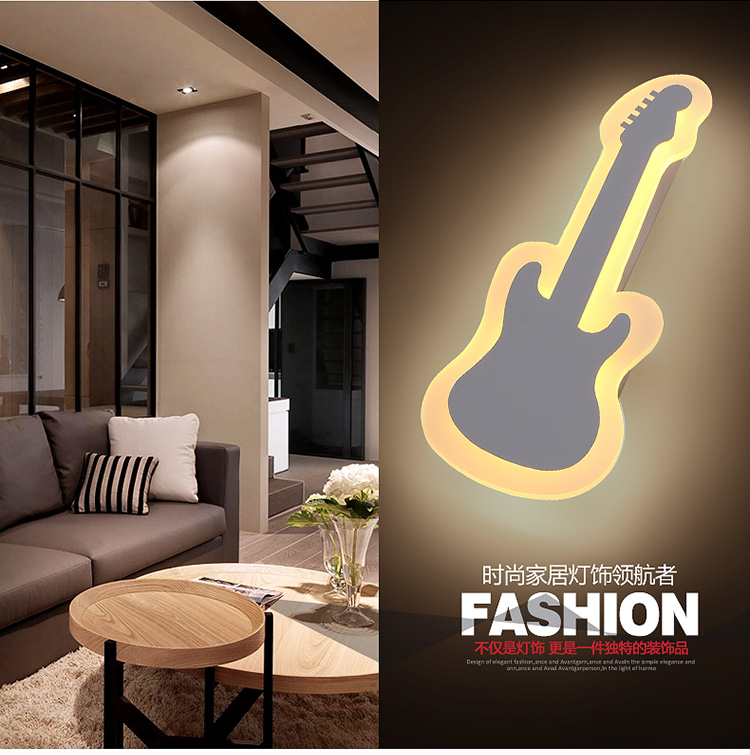 ФОТО Length.42cm Guitar shape LED wall lamp bedside lamp modern living room corridor hallway stairs Pathway Sconce Lighting