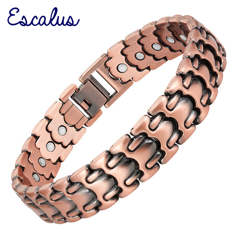 Escalus Magnetic Powerful Bio Bracelet For Men 26pcs Magnets Copper Plating Healing Link Chain Bracelets Jewelry Wristband