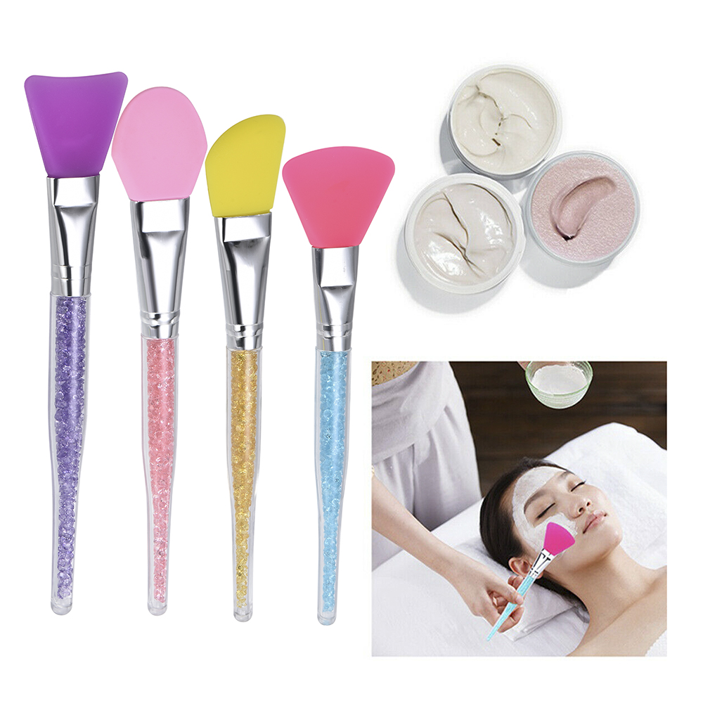 2019 Hot Sale Silicone Face Mask Brush For Facials Hairless Applicator Tools Rhinestone Handle