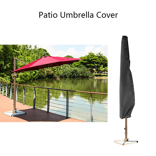 Outdoor Waterproof Patio Umbrella Canopy Rain Cover Shade Protective Sunshade Sun Shelter Shed Zipper Bag Awing