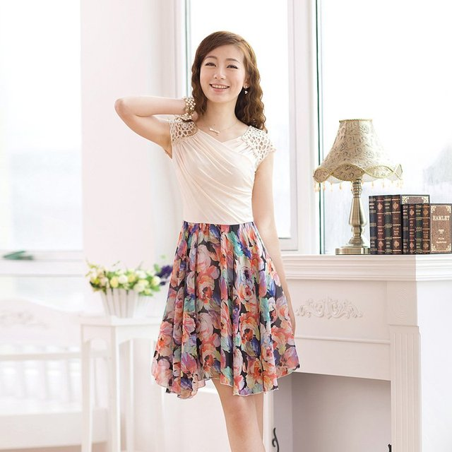 2012 spring summer women's lace Multiple colors patchwork chiffon skirt, summer chiffon designer one piece dress, new style suit