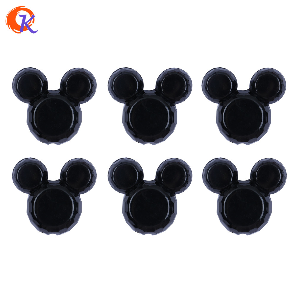 Cordial Design 50Pcs/Lot 34*37mm Fashion Jewelry Solid Black Color Chunky Mouse Acrylic  ...