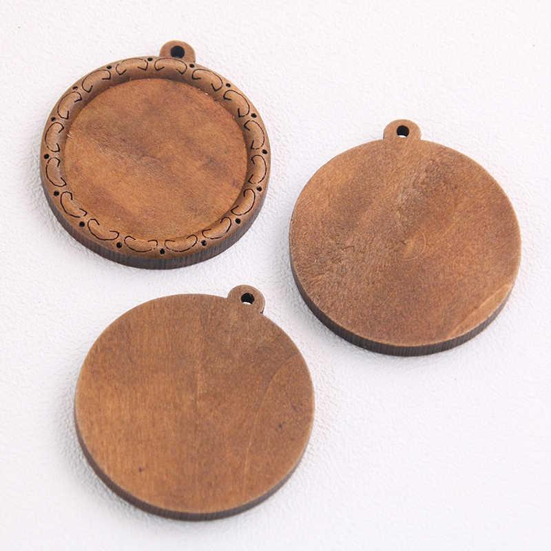 3 Buah/Kayu Coklat Cabochon Pengaturan 30 Mm Ukuran Dalam Kosong Cameo Liontin Dasar Nampan untuk Membuat Perhiasan Grosir Banyak massal
