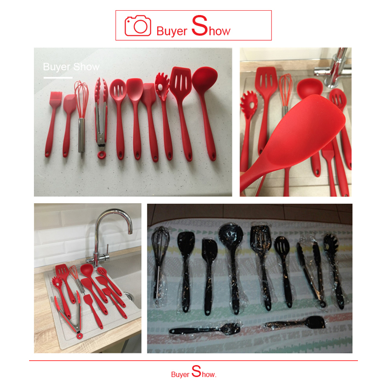 Kitchen Silicone Non-stick Cooking Spoon Spatula Ladle Egg Beaters Utensils Dinnerware Set Cooking Tools Accessories Supplies 10