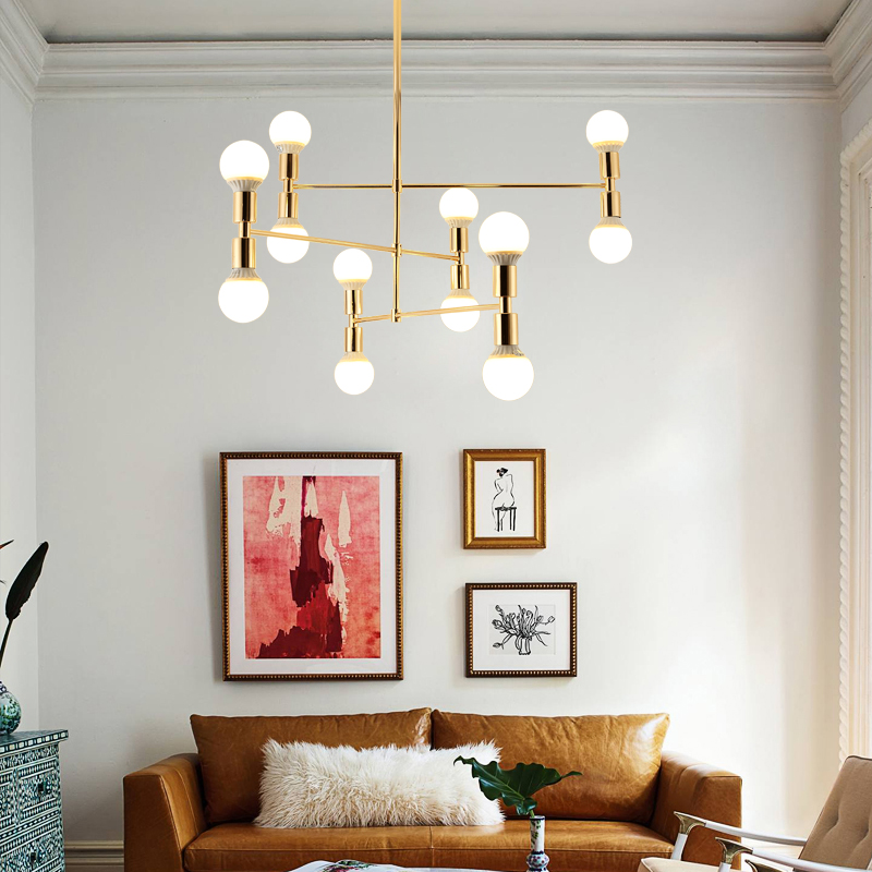 US $153.75 25% OFF|Gold Metal Body Chandelier Modern Light Fixtures For  Dining Room Living Room Chandelier Lighting lustre lamparas colgantes-in ...