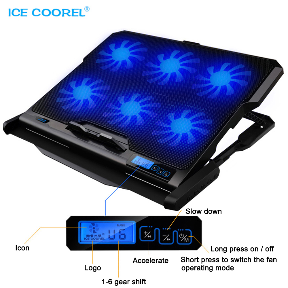 ICE COOREL Laptop kjøler 2 USB-porter og seks kjøler Vifte laptop kjølepute Notebook-stativ For 12-15,6 tommers fixtur for laptop