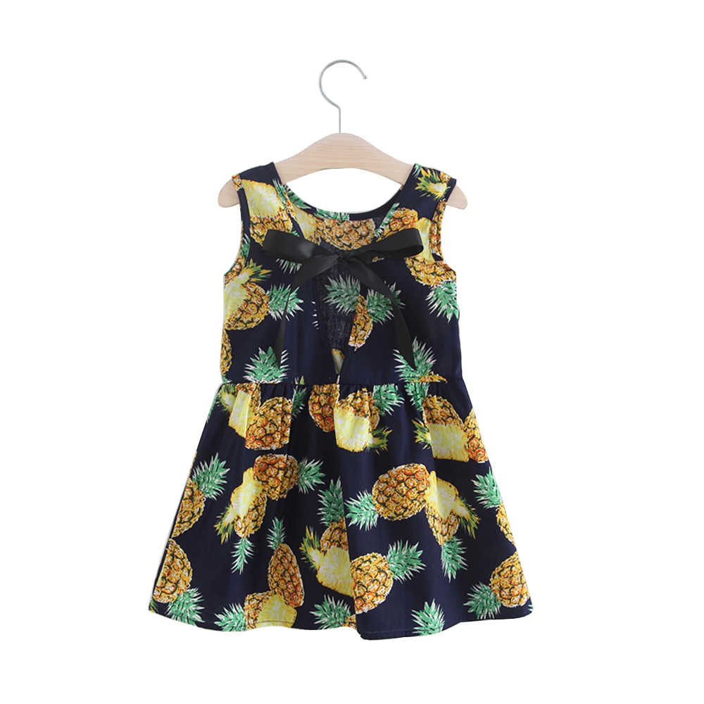 Robe d'été pour filles, vêtement en coton pur, sans manches, avec nœud, robes d'été pour bébés filles, nouvelle collection 2018 livraison directe
