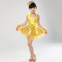 Kids Performance Stage One Shoulder Sequin Top Girls Yellow Blue Hot Pink Sportwear Dance Dresses for Dancing The Jazz