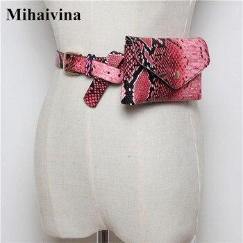 Mihaivina Serpentine Vrouwen Taille Verpakking Leer Mode Riem Tas Luxe Merk Designer Fanny Pack voor Reizen Verstelbare Telefoon Tassen