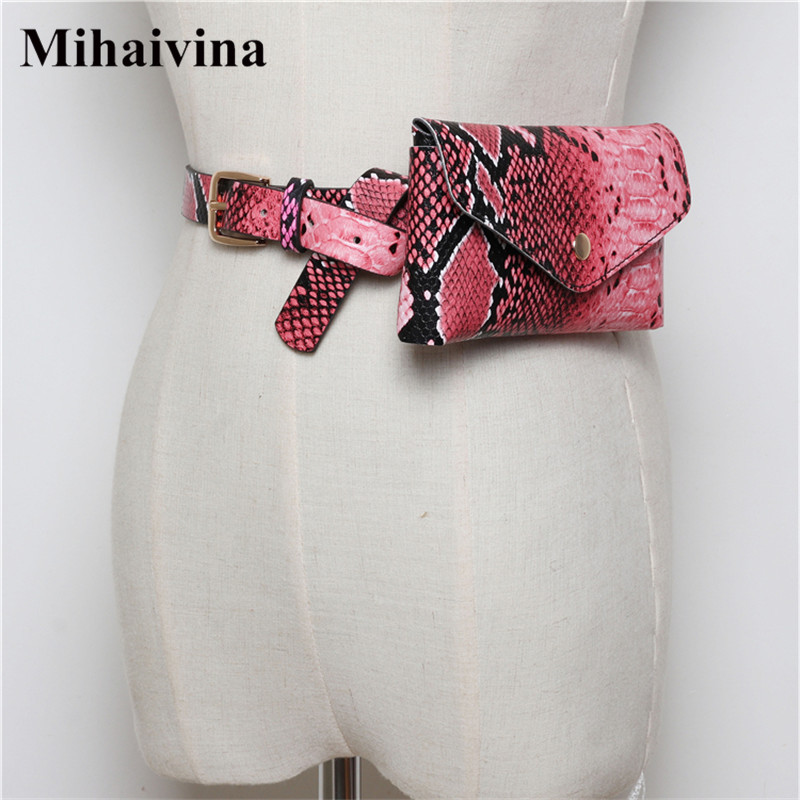 Mihaivina Serpentine Women Waist Pack Leather Fashion Belt Bag Luxury Brand Designer Fanny Pack For Travel Adjustable Phone Bags