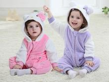 2016 New Style 0-3 Years Baby Kitty Cat Jumpsuits 2 Colors Newborn Single Layer Flannel Cartoon Rompers Soft Warm Body Suits