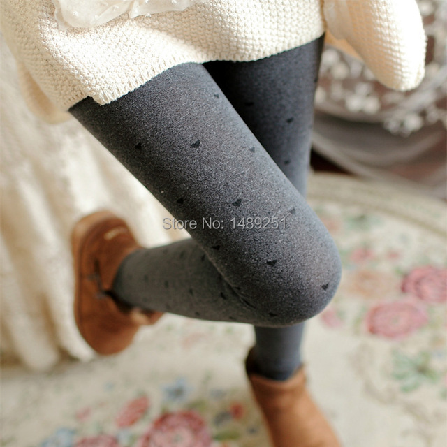 Women Winter Warm Tights Thick Gray Jacquard Love Dot Bow Nine Points Plus Velvet Fitness Stockings Free Shipping
