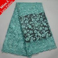 Miss. L Hoge Kwaliteit Afrikaanse Kant Stof Mintgroen Mode Franse Tulle Kant Stof Geborduurd Met Kralen Voor Party jurk