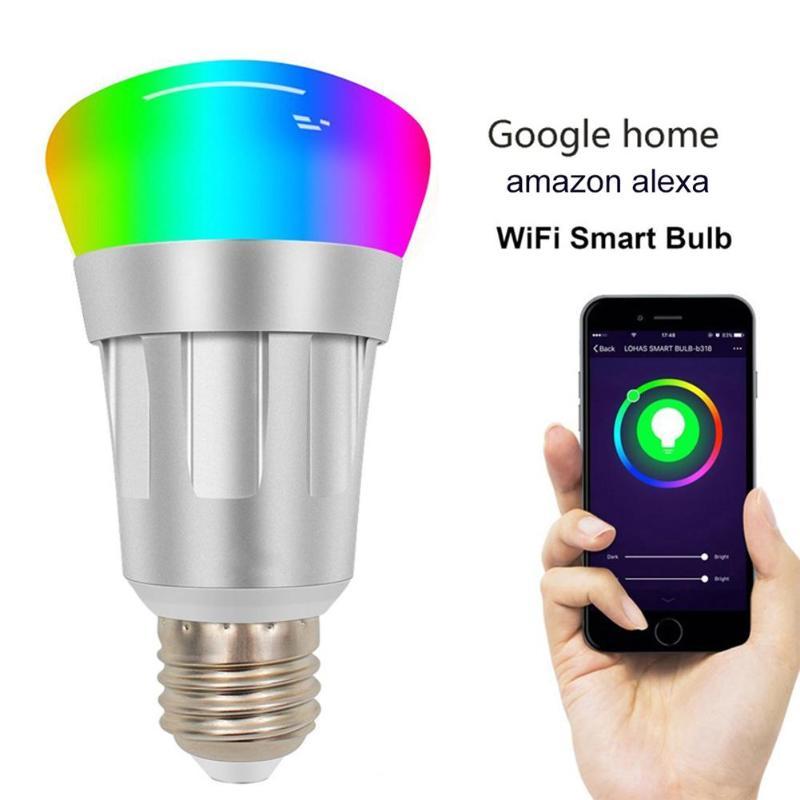 E27 WiFi LED Smart Light Bulb AC 85-265V 7W RGBW 600LM Wireless WiFi Remote Control Night Lighting Smart Dimmable Bulb Lamp