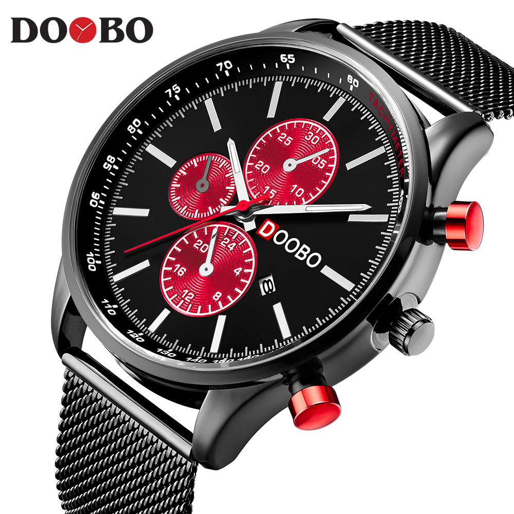 Men's Quartz Watches Fashion Casual Full Steel Sports Watches Men Business relojes Quartz watch Relogio Masculino DOOBO D036