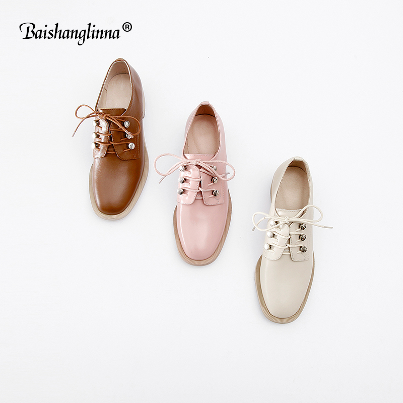 Flats British Style Oxford Shoes Women Spring genuine Leather Oxfords Flat Heel Casual Shoes Lace Up Womens Shoes Retro Brogues top quality genuine leather oxfords for women gold sliver mixed colors female british style spring autumn casual flat shoes