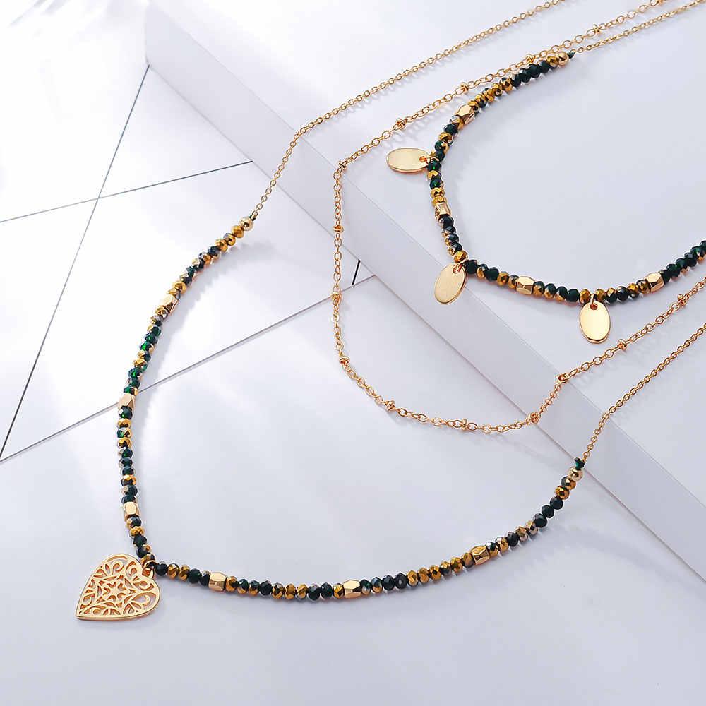 Viennios светлое сердце золотистого цвета Длинная цепочка с кулоном для женщин Имитация Длинная цепочка, со стразами ожерелье Женская мода ювелирные изделия