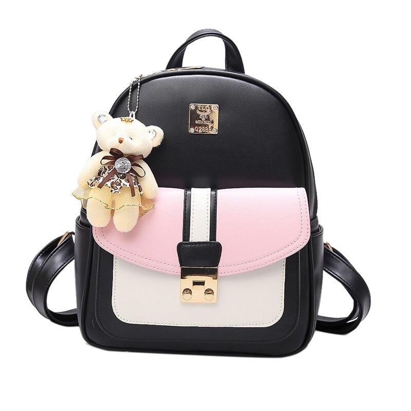 Female Women Backpack Popular 2017 New Modern Girls School Backpack PU Leather Woman Good Quality Bag College Students Bookbag