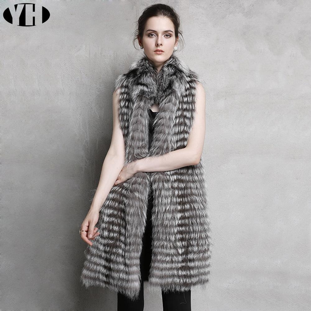 Vest Long Marque 2018 Silver Style Gilet Fourrure De Lady Naturel 100 Fur Mode Femmes Réel Renard Qualité Haute Fox Cm 90 BpwCxIq